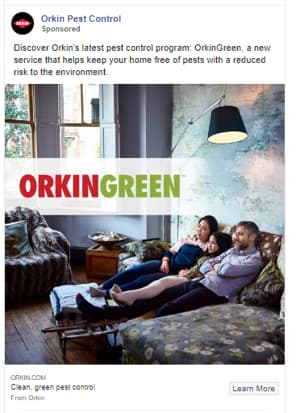 Orkin Pest Control Facebook Advertisement